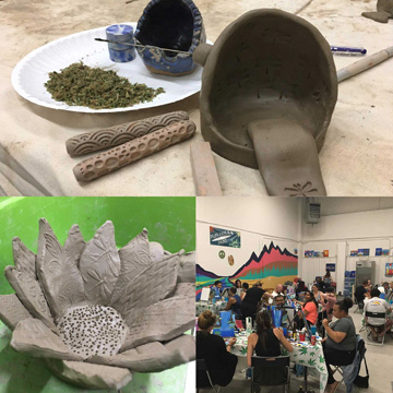 A collage of pottery and puff pass pottery attendees.