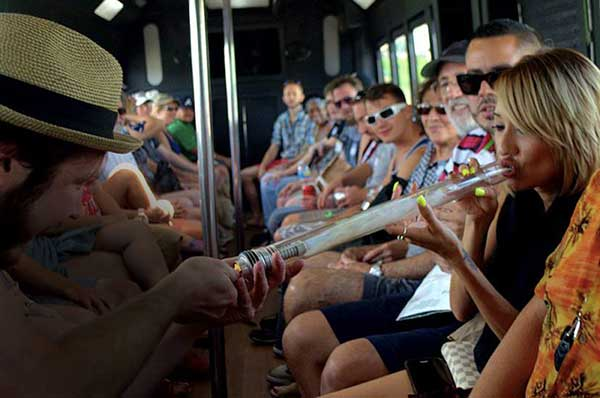 Wine and Weed Bus Shot